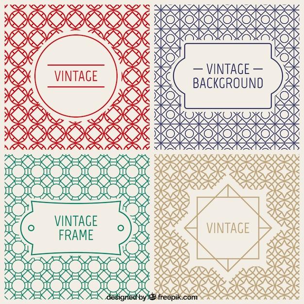 Vintage значки и декоративные фоны Бесплатные векторы