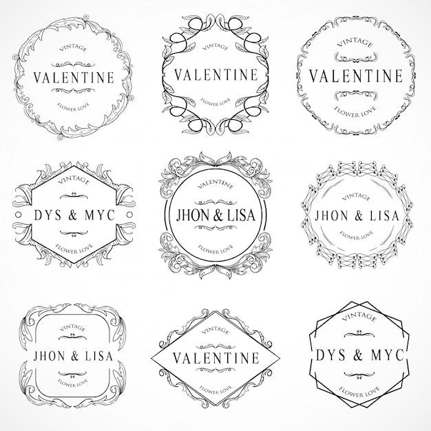 Установка элементов vintage Premium векторы
