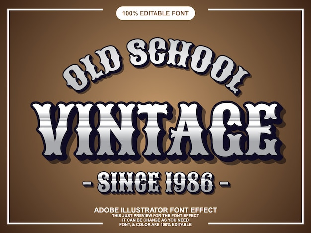 Vintagle chrome editable typography font effect Premium Vector