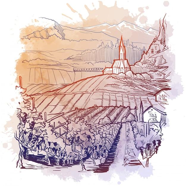 オーストリア、チロルアルプスのブドウ畑。グレープバインプランテーションと村のあるマウンテンバレーの田舎のパノラマ。水彩テクスチャの線形スケッチ Premiumベクター
