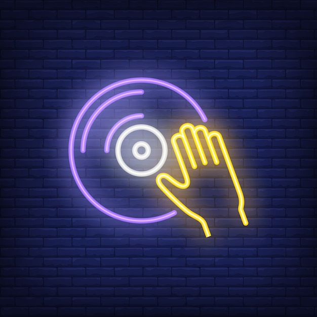 Vinyl disk with hand neon sign Free Vector