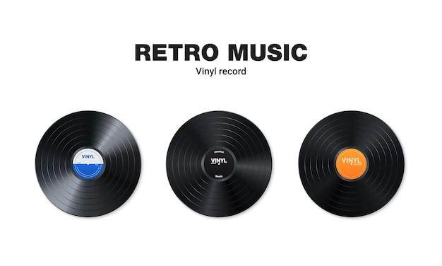 Набор виниловых музыкальных пластинок. дизайн ретро аудио диска. реалистичный старинный граммофонный диск с крышкой. Premium векторы