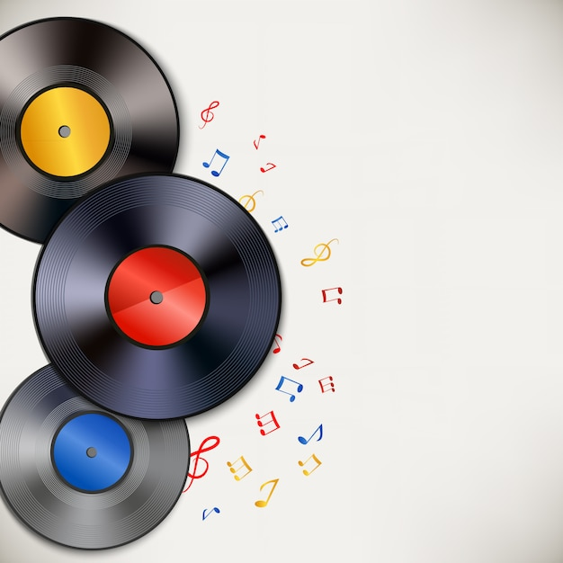 Vinyl record background with copyspace Free Vector