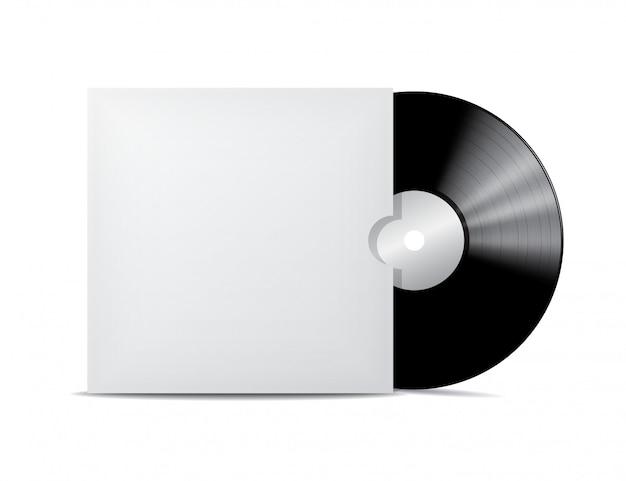 Vinyl record in blank cover envelope. Premium Vector