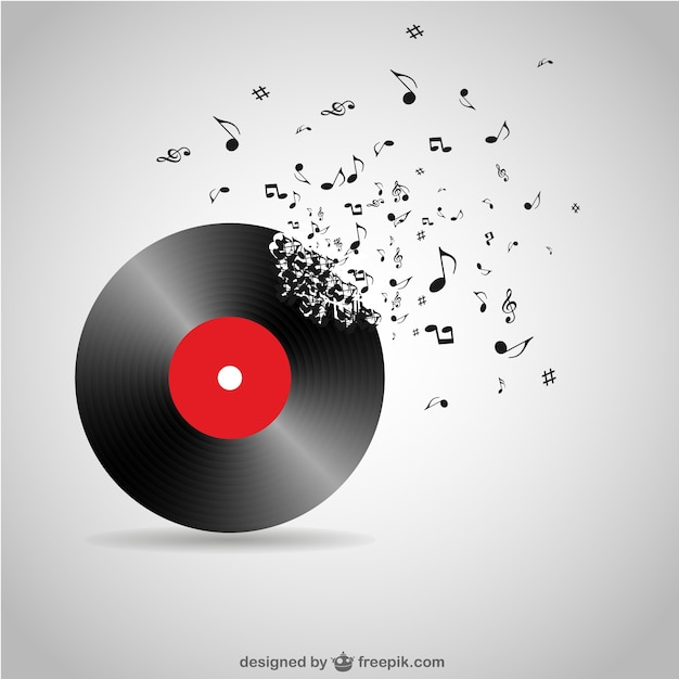 Vinyl record breaking into music notes Free Vector