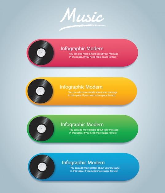 Vinyl record infographic background Premium Vector