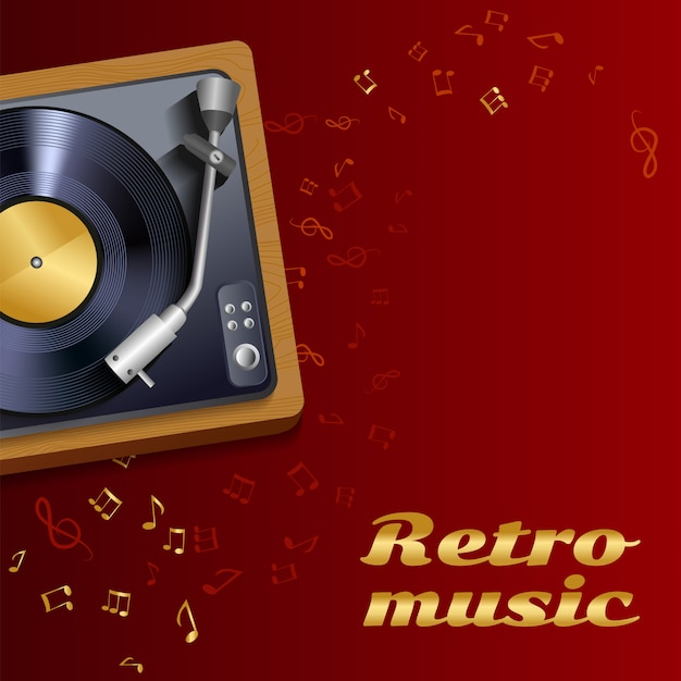 Vinyl record player background Free Vector