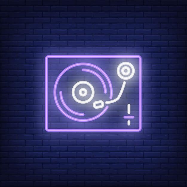 Vinyl record player neon sign Free Vector