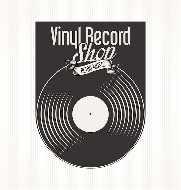 Vinyl record shop retro banner Vector | Premium Download
