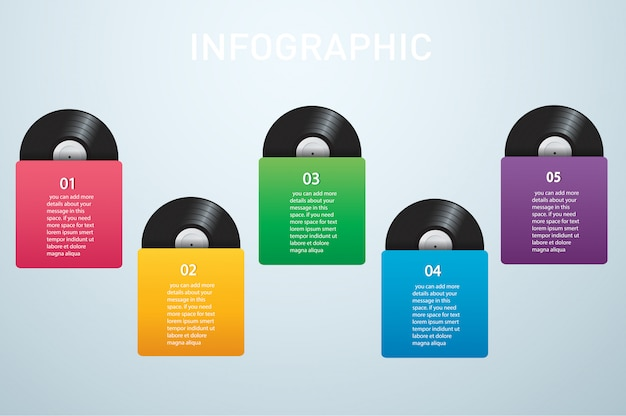 Vinyl record with cover infographic vector Premium Vector