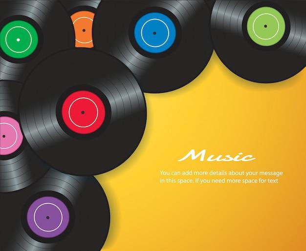 Vinyl record with yellow background vector Premium Vector