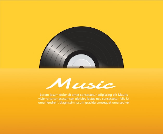 Vinyl record with yellow background vector Premium Vector