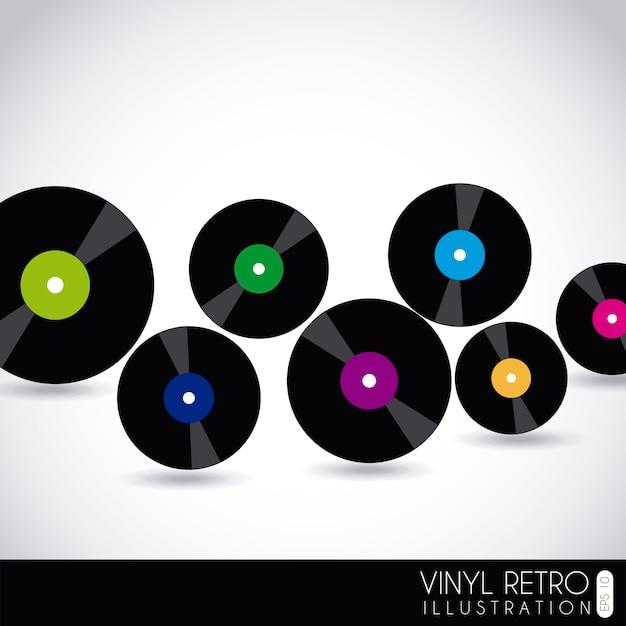 Vinyl retro over gray background vector illustration Premium Vector