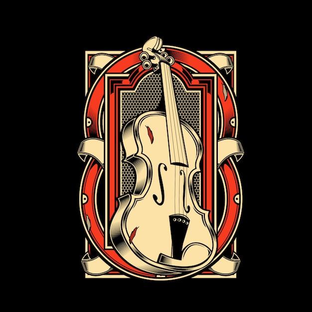 Viola musical instrument string Premium Vector
