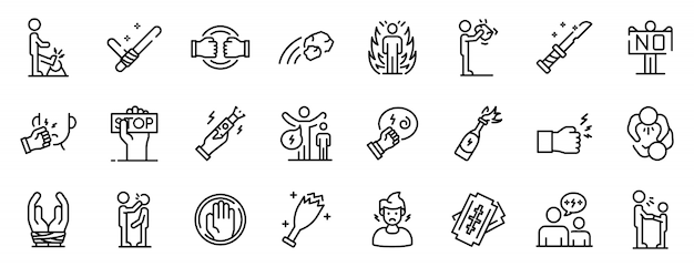 Violence icons set, outline style Premium Vector