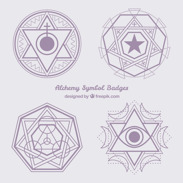 Violet Abstract Alchemy Symbols Vector Free Download
