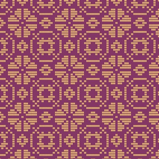 紫と茶色の花のソンケットパターン Premiumベクター