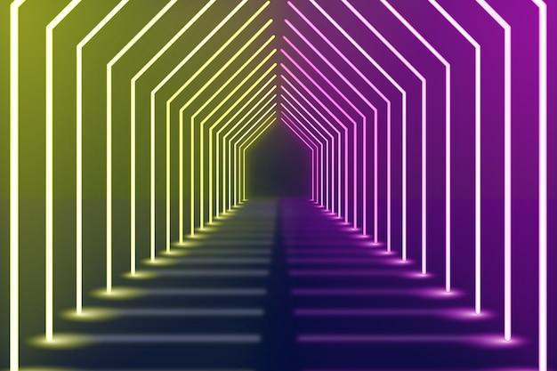 Фиолетовый и желтый фон изогнутые неоновые огни Premium векторы