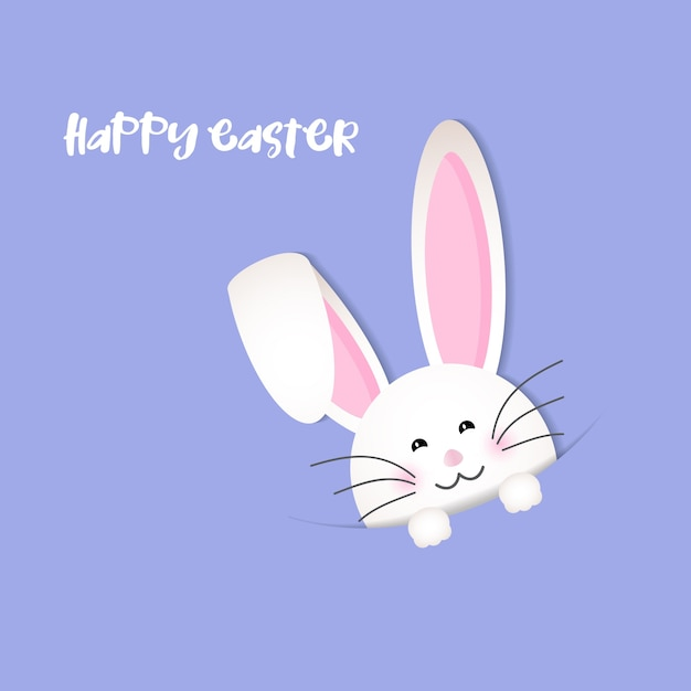 Violet background for easter with a funny rabbit Free Vector
