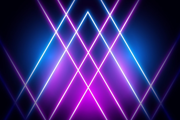 Violet and blue neon lights on dark background Free Vector