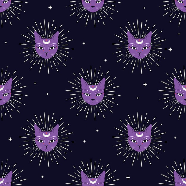 Violet cat face with moon on night sky seamless pattern background. Premium Vector
