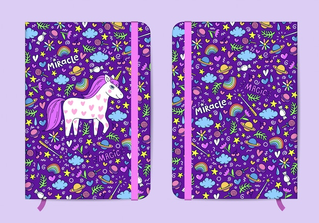 Violet copybook template with elastic band and bookmark with cute hand drawn unicorn pattern. Premium Vector