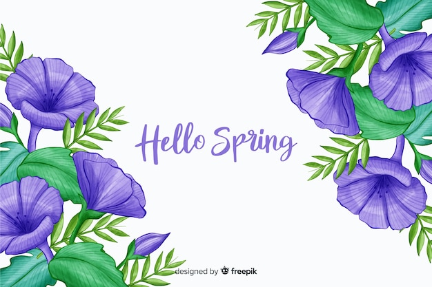 Violet flowers with purple hello spring quote Free Vector