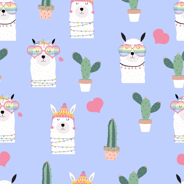 Violet hand drawn cute seamless pattern with llama, heart glasses, cactus in summer Premium Vector