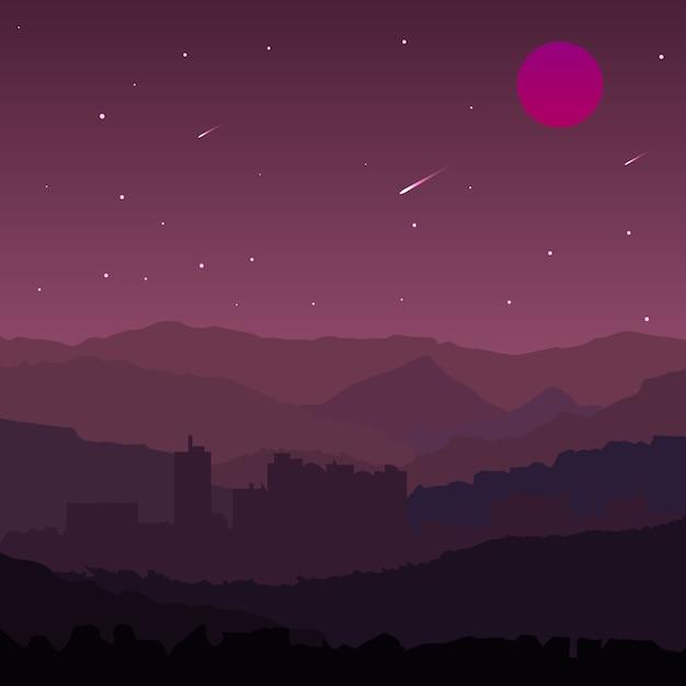 Фиолетовый пейзаж с метеоритным дождем Premium векторы