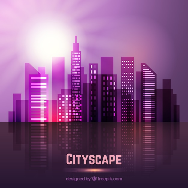 Violet modern city with a bright sun\ background