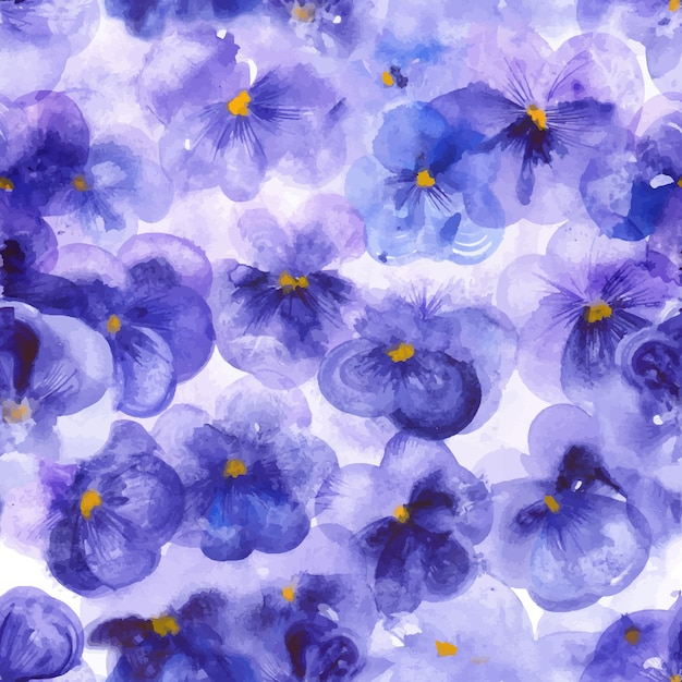 Violet pansy flowers seamless pattern Premium Vector