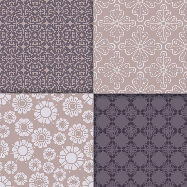 Violet and serenity geometric pattern set Premium Vector