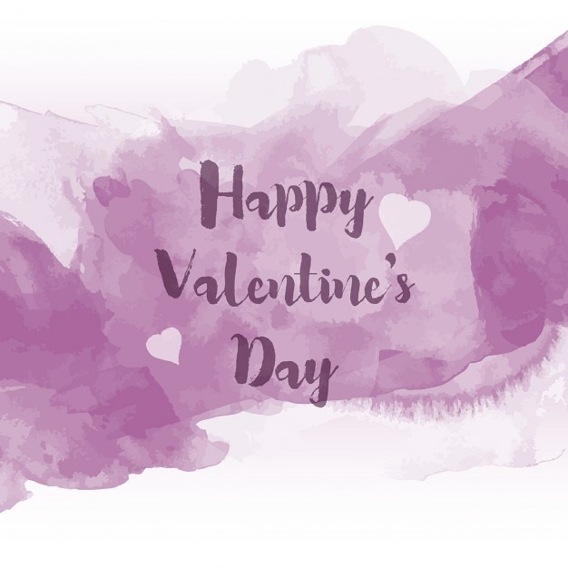 Violet Watercolor Valentine Day Background Free Vector