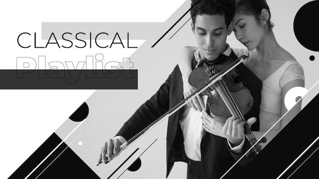 Violin concert youtube thumbnail Free Vector