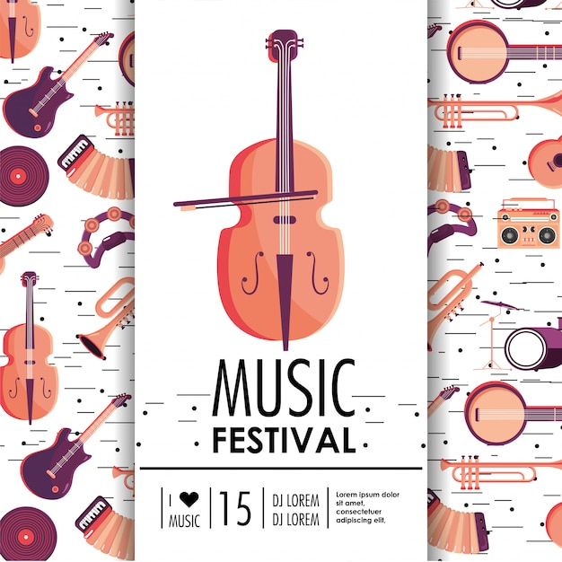 Violin and instruments to music festival event Premium Vector