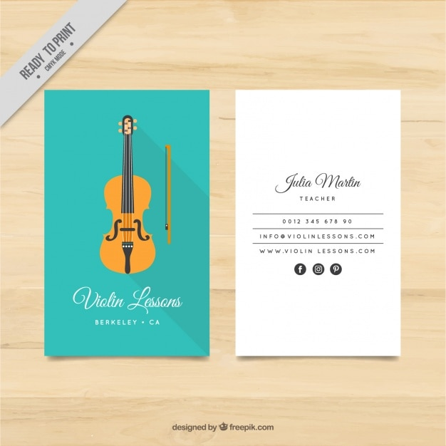Violin teacher card