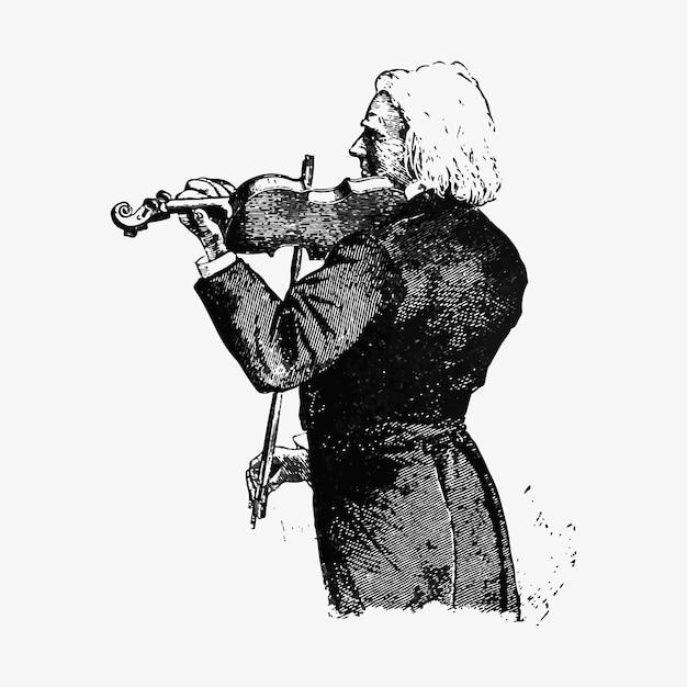 ヴァイオリニストビンテージドローイング 無料ベクター