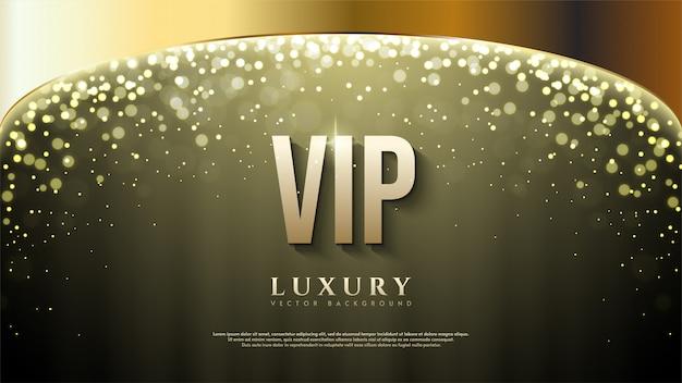 Vip фон с золотой надписью иллюстрации с боке света на вершине. Premium векторы
