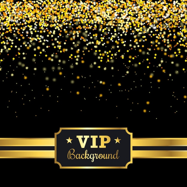 Vip background with golden confetti