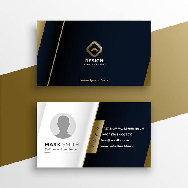 Vip business card in dark theme template Free Vector