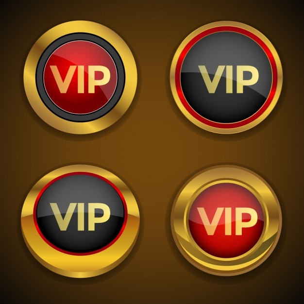 Vip buttons collection Free Vector