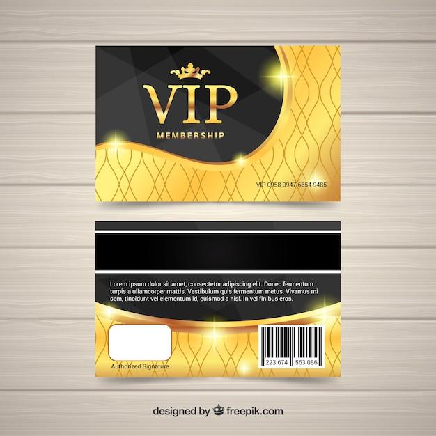Vip card with golden design Vector – Membership Card Design