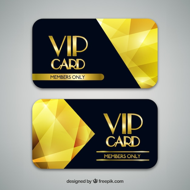 Vip Cards With Golden Geometric Shapes Vector Free Download