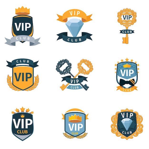 Vipクラブのロゴとエンブレムがセットされています。高級ゴールデンレーベル、会員セレブ 無料ベクター