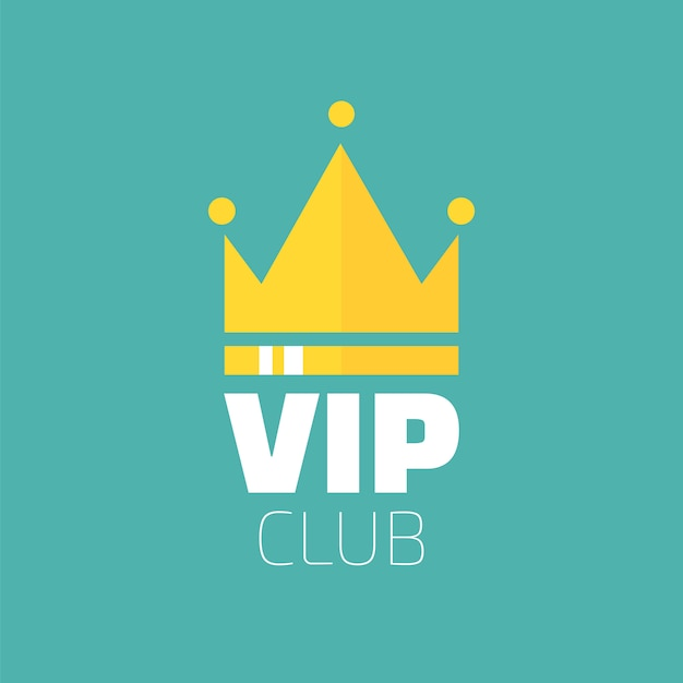 Vip club logo in flat style. vip club members only banner Premium Vector