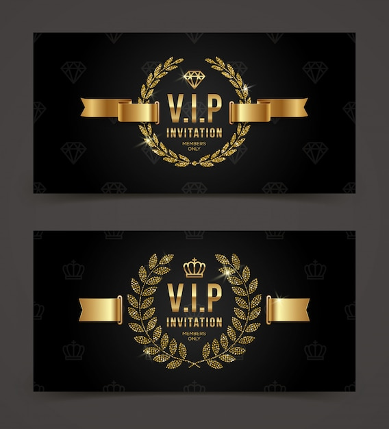 Vip golden invitation template - type  with crown, laurel wreath and ribbon on a black pattern background.  illustration. Premium Vector