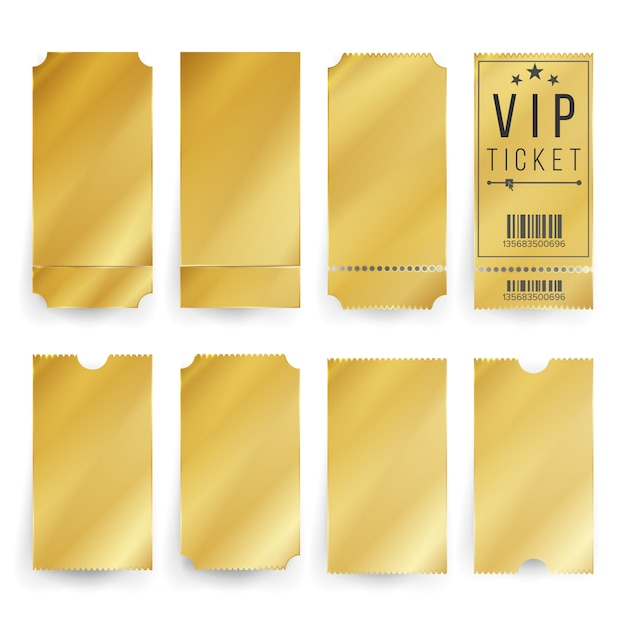Vip golden ticket template set Premium Vector