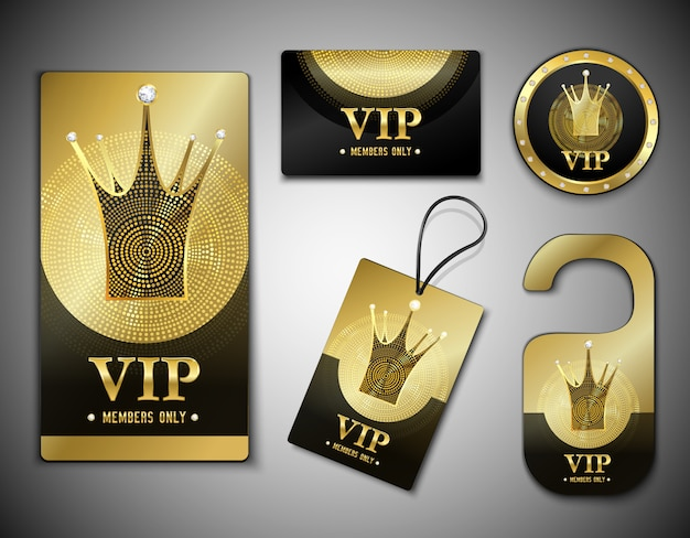 Vip member elements design template Free Vector