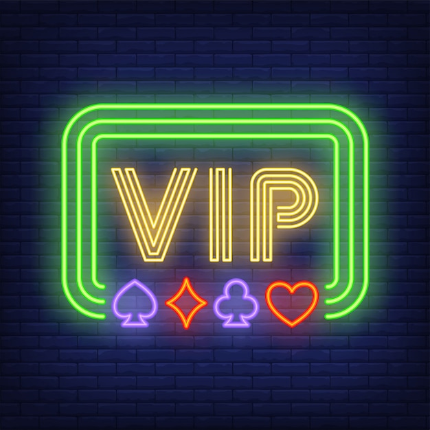 Vip neon text in frame with playing card suits Free Vector