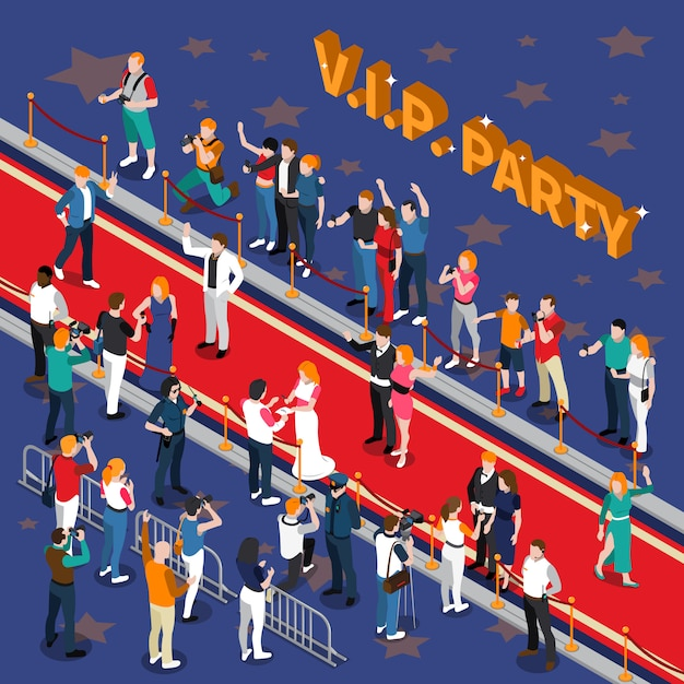 Vip party isometric illustration Free Vector